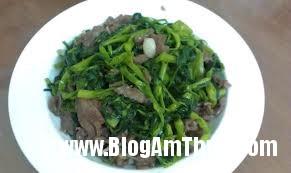 rau muốn xào thịt bò Món Rau muống xào thịt bò