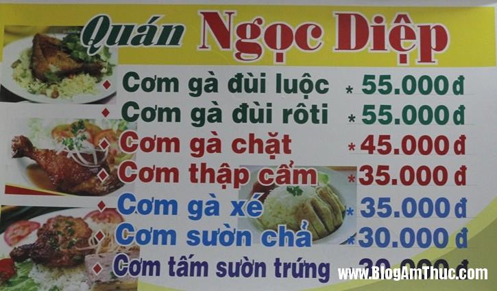 com ga ngoc diep menu Cơm gà ngon giá bình dân ở đường Hải Phòng   Đà Nẵng
