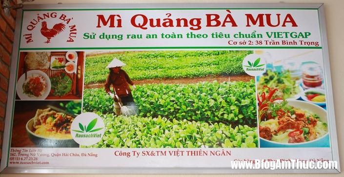 mi quang ba mua rau song tieu chuan Thưởng thức mì quảng rau sạch ở quán bà Mua