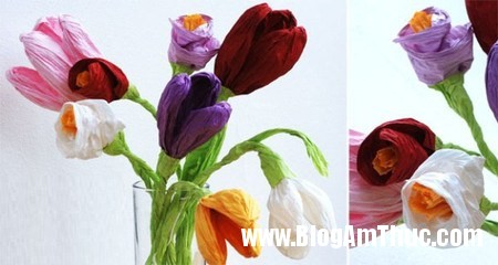Kheo tay voi binh hoa tulip ruc ro tu giay nhun 1 Làm hoa tulip thật xinh từ giấy nhún