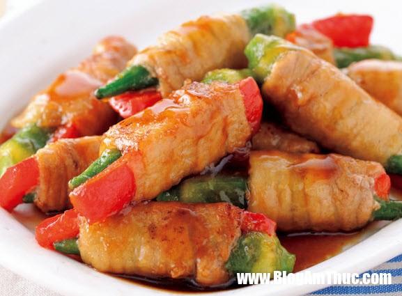 cach lam thit cuon dau bap teriyaki nhat ban Thịt heo cuộn rau củ nhanh và đảm bảo dinh dưỡng cho buổi tối